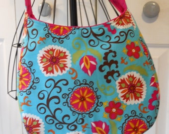 Large Funky Floral Hobo Bag Tote in Teal Hot Pink Multi Retro Cross Body Strap