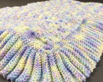 Handknit baby blanket boy ruffle blue purple