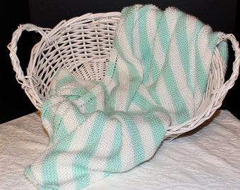 Soft Hand Knit Baby Blanket in Pastel Green and White Stripes