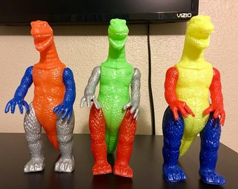 Lot of 3 1960's blow mold versions of  Godzilla  from Peru