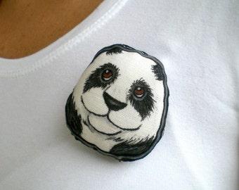 Panda-Brosche, Hand Painted weichen Plüsch-Tier-Kunst-Puppe-polig