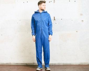 Men's Painters OVERALLS . Hooded Jumpsuit Vintage 80s Blue Garage Car Mechanic Artist 80s Full Cover Jumpsuit Outerwear . size Medium M