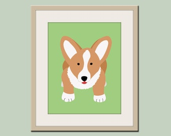 Corgi print. Dog nursery artwork for baby & kids in green. Custom colors. Dog Art, Dog print, Nursery art for kids by WallFry