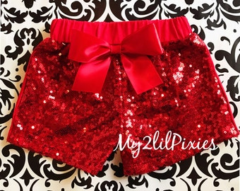 Red sequin shorts , Baby Girls red Sparkle Sequin SHORTS-  girls birthday outfit- girls sequin shorts- toddler shorts- toddler sequin shorts