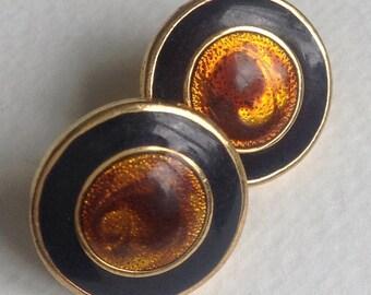 Black & Copper Enamel Button Earrings - Napier - Pierced Ears - Gifts for Her -Womens Gifts