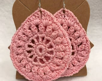 Soft pink large teardrop crochet lace earrings