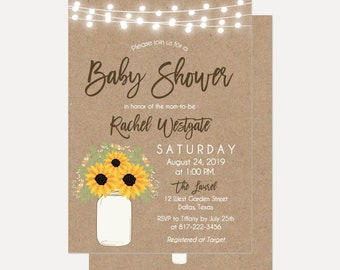 Kraft Mason Jar Floral Lights Baby Shower Invitation, Baby Shower Invitation Template, Digital Download, Printable Baby Shower Invitation
