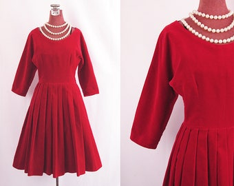1950s Dress ~ Lipstick Red Velvet Fit & Flare ~ Portrait Neckline ~ Full Box Pleat Skirt ~ Classy and Sweet ~ Excellent Condition ~ S/XS
