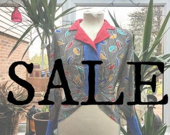1980s Multicoloured Leaf Striped Cropped Blouse SALE
