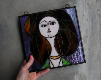 Stained glass panel Picasso picture, stained glass cubism style, stained glass wall decor, gift for Picasso lovers, cubism picasso