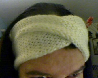 Knitted twisted or crossed turban headband