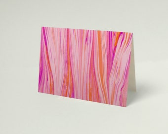 """Marbled pink, purple and orange feather 3.5""""x 5"""" folding card, blank with envelope"""