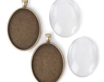 40x30mm Oval Pendants - Antiqued Imitation Gold (IP006)