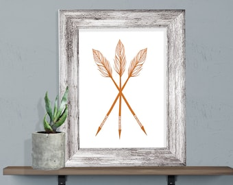 Orange ARROW Wall Art Graphic Print for Boy Nursery 8x10 or 11x14