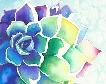 Watercolor Succulent Print, Watercolor Succulent, Colorful Watercolor, Succulent Print, Succulent Art