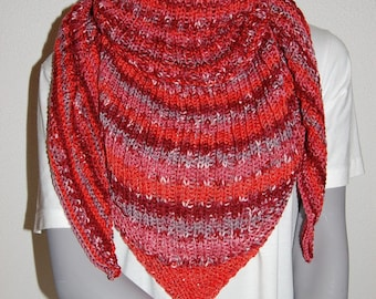 Scarf/shawl knit handmade Heather red/pink/gray ribbed 2/2