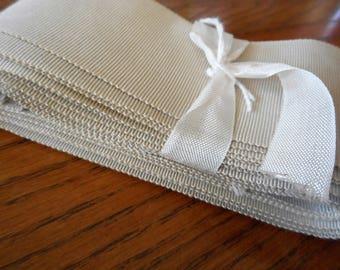 5Yds Wide VINTAGE Tan Taupe Grosgrain Applique Trim Millinery Ribbon