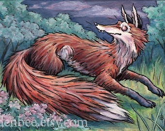 "Signed and matted print of original Fox and Flox watercolour painting by Eden Bachelder, 7"" x 10"" image in 11"" x 14"" mat"