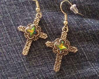 Cross Earrings, Nickel Free Earrings, Silver Plated, Jeweled Cross Earrings, Religious Jewelry