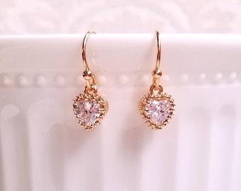 Cubic Zirconia dangling earrings Minimal jewelry Mother's day gift Cubic Zirconia heart crystal earrings Petite earrings