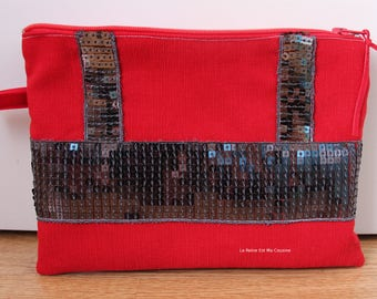 Red and charcoal glitter pouch