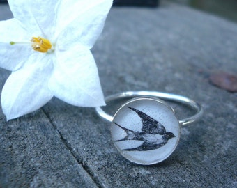 Sparrow Silhouette Ring -  Sterling Silver and Resin