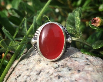 Carnelian Ring, Red Gift for Girlfriend, Red Ring, Size 4, Sterling Silver, Red, Rustic