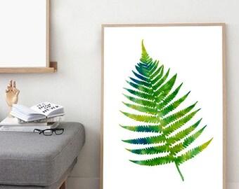 Watercolor Painting, Fern print, Botanical watercolor, Botanical painting, Leaf print, Wall art, Wall decor, Green, Large watercolor print