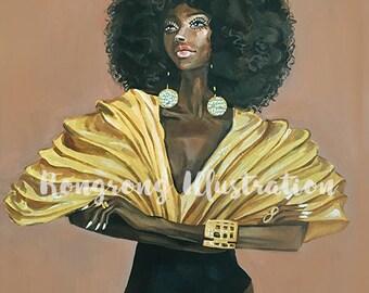 Diva fashion illustration,Fashion Print,Fashion wall art, Fashion Poster,Fashion Painting, Fashion Art, High fashion art