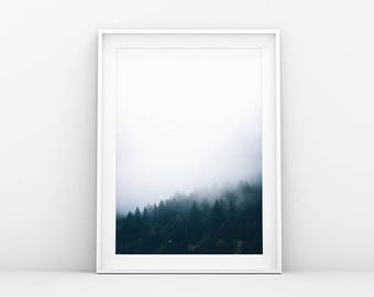 Misty Forest Mountain Side - Foggy Tree Tops - Landscape Poster - Landscape Art Print - Printable Wall Art - Scandinavian & Danish Art Print