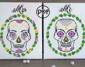 Wedding Cross Stitch Pattern pdf Mr. and Mrs. Wedding gift Sugar skull cross stitch Anniversary Gift For Couples embroidery chart Modern