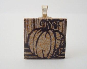 Harvest Pumpkin Necklace Fall Fashion Porcelain Tile Pendant  Rubber Stamped