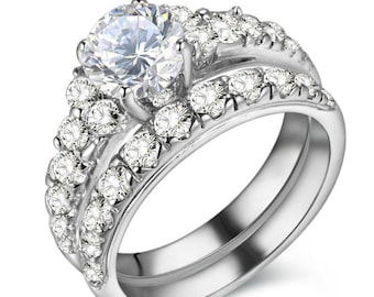AAA CZ Pure 925 Sterling Silver Wedding Ring Set Engagement Band Trendy Jewelry For Women
