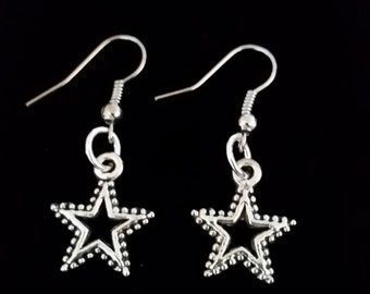 Awesome silver star dangle hook coil earrings