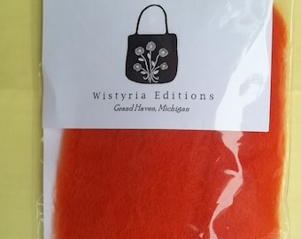 "Wistyria 100% Wool Roving ORANGE or GREEN 12"" Package .2 Ounces New Needle Felting"