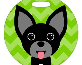 Luggage Tag - Chihuahua Black - Round Plastic Bag Tag