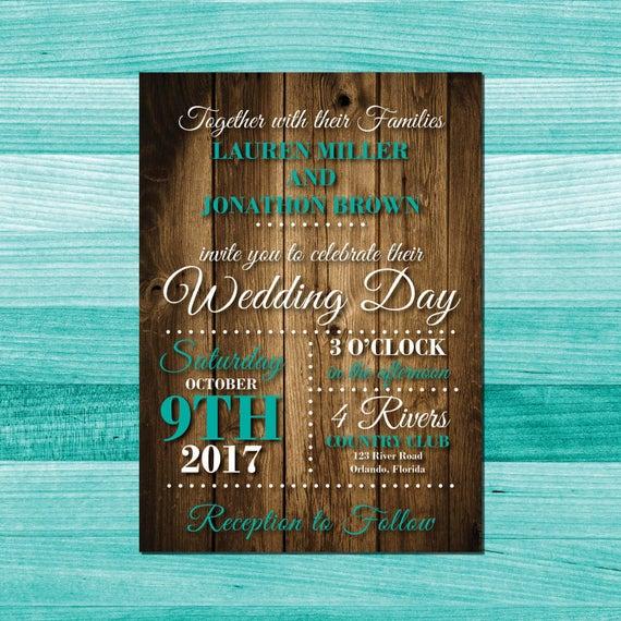 Rustic Wedding Invitation Turquoise Wedding Invitations