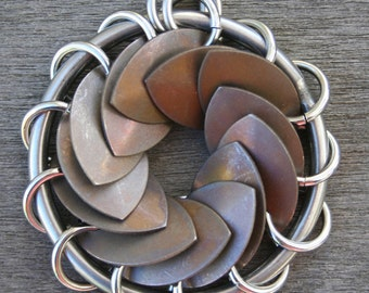 1.5-Inch Scalemail Turbine Pendant Stainless Steel with Bronze Titanium Scales