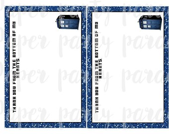 DIY Dr. Who Party Thank You Card - TARDIS- INSTANT download, digital file, print at home, birthday party, retirement, wedding, Doctor Who
