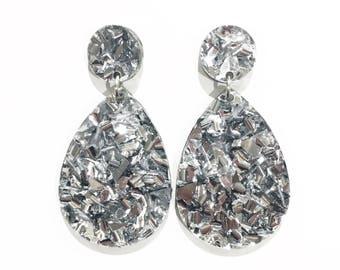 DROP earrings. Silver glitter acrylic.