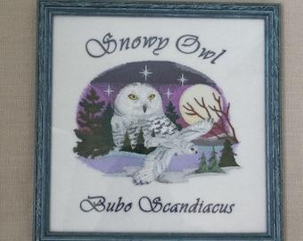 Arctic Snowy Owl; Machine Embroidered Owl Portrait; Framed Owl Art
