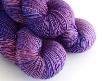 Hyacinth - Single Ply Yarn - Hand Dyed - Merino Wool - Purple and Pink - Fingering Weight Kettle Dyed