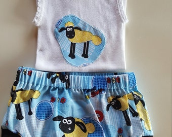 Nappy cover pants with matching singlet