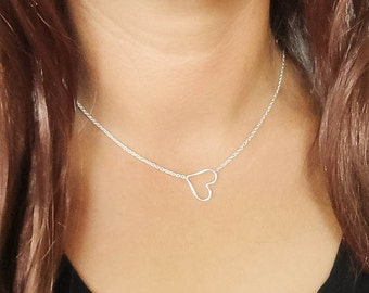 Sideways Heart necklace - Sterling Silver Heart Necklace - Celebrity Inspired Necklace