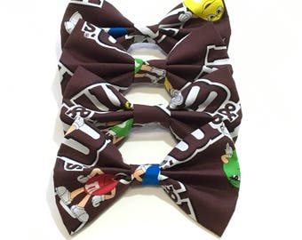M&M fabric hair bow with alligator clip