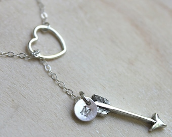 Love Struck. Sterling Silver Heart and Arrow Lariat Necklace with handstamped initial disk charm. Archer boyfriend girlfriend