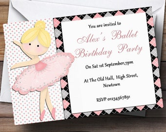 Beautiful Ballet Dancer Personalised Birthday Party Invitations