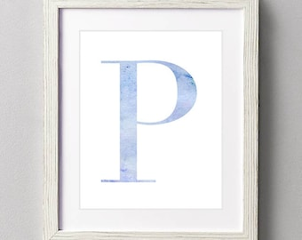 Letter P | Nursery Print | Nursery Art | Alphabet | Instant Download | Digital Print | Wall Art | Baby Boy | Initials | Blue | Watercolor