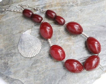 Big bold red copal and sterling silver necklace - statement necklace - dark red - Frida Kahlo style