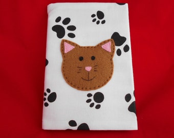 CAT Notebook Cover with notebook A6 - 'Callie Cat' appliqued onto notebook - Paw-prints - Handmade - Gift Idea - Novelty -